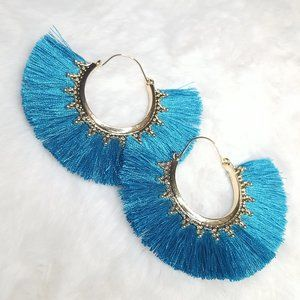 Fan Shape Peacock Blue Fringe Earrings